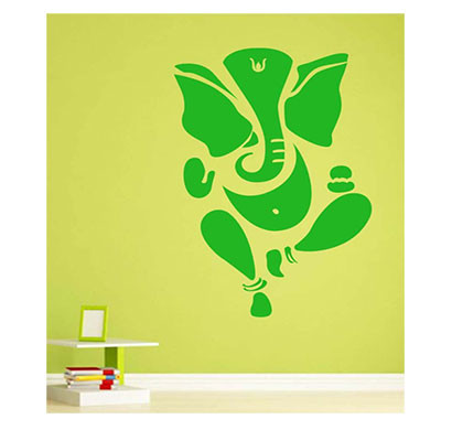 Enormous Kart On Wall Green Pvc Ganesh Ji Wall Sticker (Green)