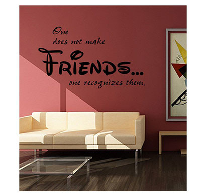 Enormous Kart On Wall Pvc Make Friends Wall Sticker (Black)