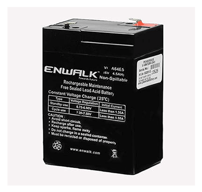 enwalk 6v/4.5ah lead acid battery 6 months warranty black