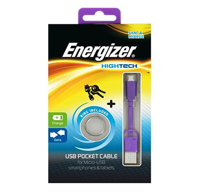 energizer pocket cable micro-usb charge + data - purple