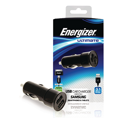 energizer ultimate car charger 2 usb 3 ampera for samsung devices black