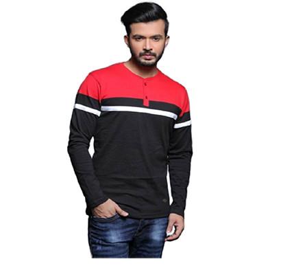 FASHNET ( FI00001) Solid Cotton Mandarin Slim Fit Full Sleeve Men's T-shirts ( Multicolor)