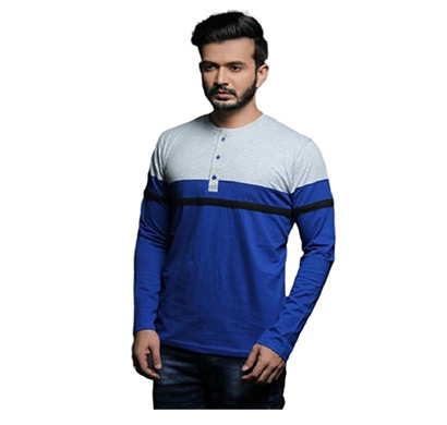 fashnet ( fi00003) solid cotton mandarin slim fit full sleeve men's knitted t-shirts ( muticolor)