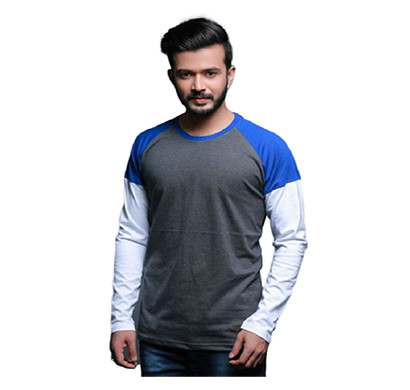 FASHNET ( FI00004) Solid Cotton Round Neck Regular Full Sleeve Men's T-Shirt ( Multicolor)