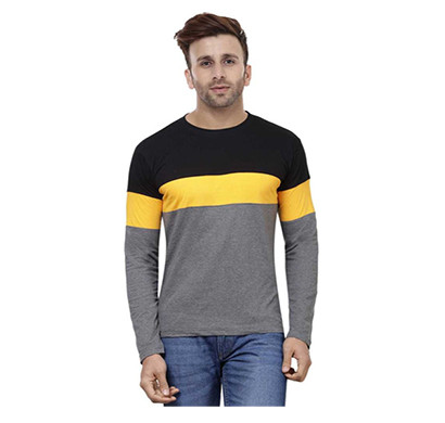 FASHNET (FI00006) Solid Cotton Round Neck Regular Full Sleeve Men's T-Shirt ( Multicolor)