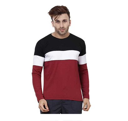 FASHNET (FI00007) Solid Cotton Round Neck Regular Full Sleeve Men's T-Shirt ( Multicolor)
