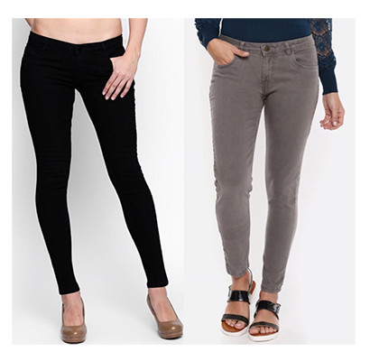 For You For Me (MAA-SILKY BGR) Women Western Wear - Western Bottomwear - Jeans -Regular (Black and Grey)