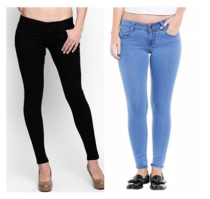 For You For Me (MAA-SILKY BBA) Women Western Wear - Western Bottomwear - Jeans -Regular (Black and Bata)