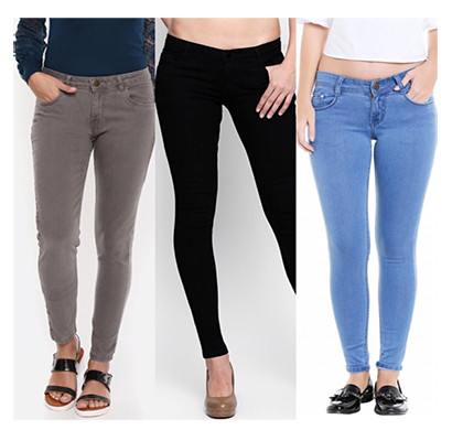 for you for me (maa-silky grbba) women western wear - western bottomwear - jeans -regular (grey, black and bata)