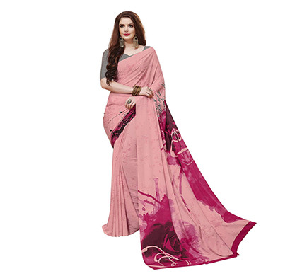 gaurangi creation (sw1010) printed crepe casual wear saree for women (pink)