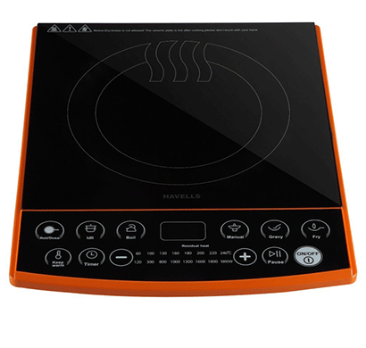 Havells Insta Cook ET-X Induction Cooktop 1900W (Black, Orange, Touch Panel)