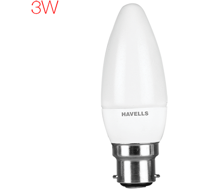 havells- lhlderuemd9x003, new adore led 3w candle b22, warm white, 1 year warranty