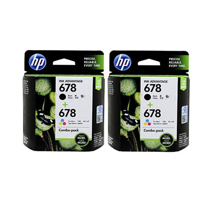 hp 678 ink advantage (l0s24aa) black and tri colour cartridge, ( comobo x 2 packet)