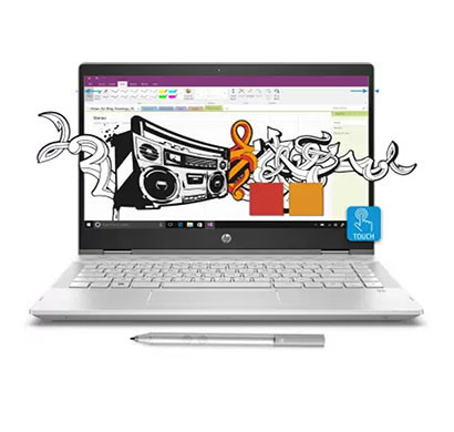 hp pavilion x360 14-cd0050tx (4lr35pa) 2 in 1 laptop (intel core i3/ 8th gen/ 4gb ram/ 1tb hdd/ 8gb ssd/ 14 inch screen/ windows 10 home, ms office/ 2 gb graphics) mineral silver