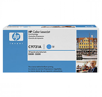 hp clj 5500 cyan print cartridg- c9731a, 1 year warranty