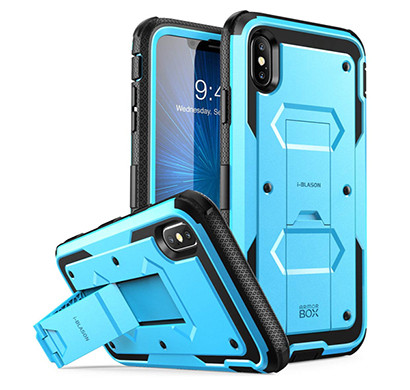 i-blason (b07h9lrw79) case for iphone xs max 2018 release, (built in screen protector)(armorbox) full body heavy duty protection kickstand shock reduction case, blue, 6.5