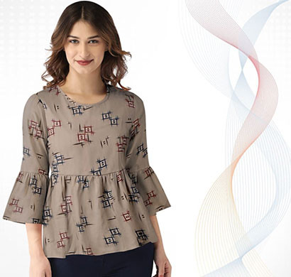 isha women designer western trendy top imported stretchable fabric bell half