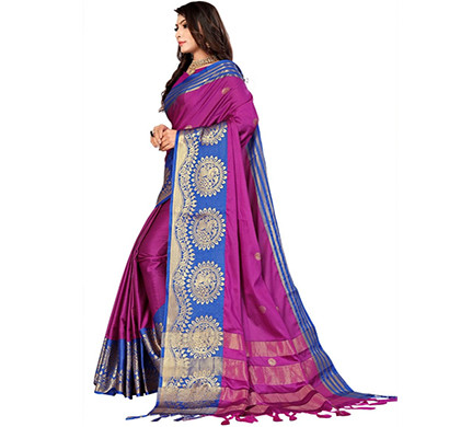 jeaqurd designer silk finish saree soft aura cotton silk with attached running blouse saree for women (rani colour)