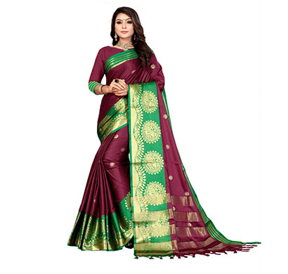 jeaqurd designer silk finish saree soft aura cotton silk with attached running blouse saree for women (maroon colour)