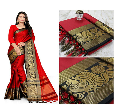 jeaqurd designer silk saree soft aura cotton silk peacock border with attached running blouse saree for women ( multicolor)