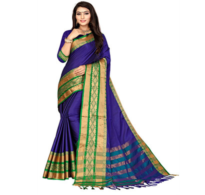 jeaqurd designer silk saree soft aura cotton silk diamond border with atteched running blouse saree for women ( multicolor)