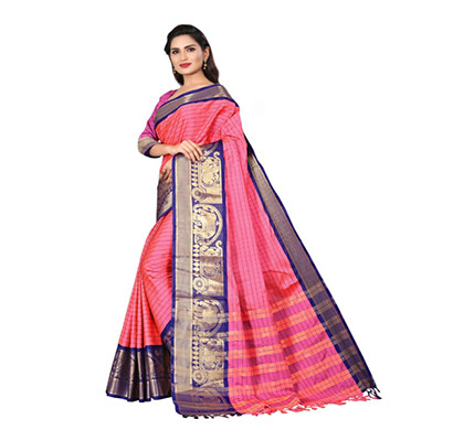 jeaqurd designer ( hathi dolly 4992 ) silk saree soft aura cotton silk hathi dolly border with attached running blouse saree for women ( multicolor)