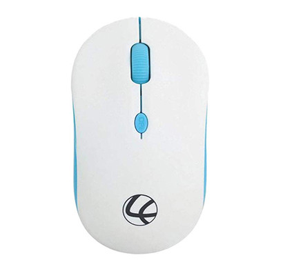 lapcare safari 2.4g 1600 dpi compact wireless mouse with nano receiver and 10 meter range (white/blue)