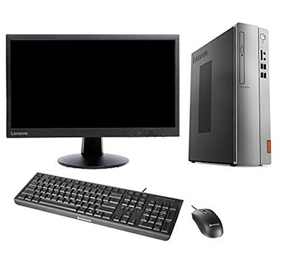 Lenovo Ideacentre 510S-08IKL 90GB000QIN With 21.5 Inch Monitor (Core i3-7100/ 4GB RAM/ 1TB HDD/Bluetooth / Wifi / DVDRW / DOS) Tower Desktop Computer Silver Black