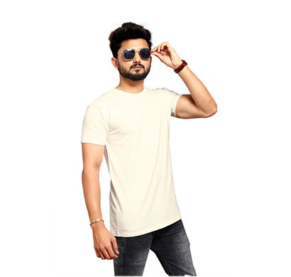 less q branded cotton lycra mens t-shirt (yellowish white)
