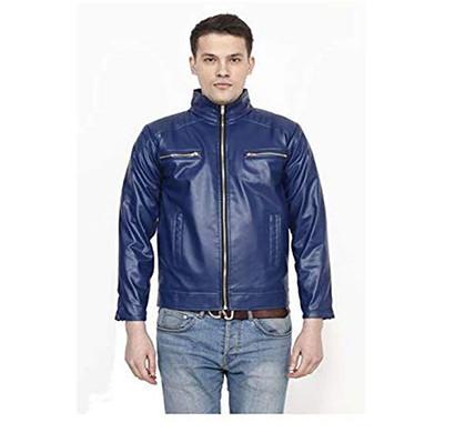 Marlin Blue (SYNRJMB-006-Blue) Round Neck Rexin MEN'S Jacket (Blue)