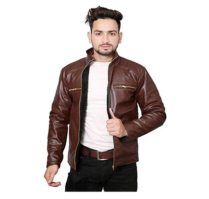 marlin blue (synrjmb-006-brown) round neck rexin men's jacket (brown)
