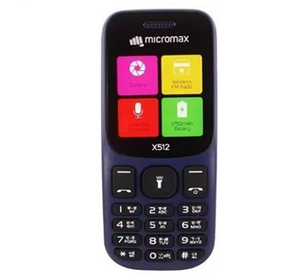Micromax X512 Feature Phones 56 MB Dual Sim (Blue, Black & Red)