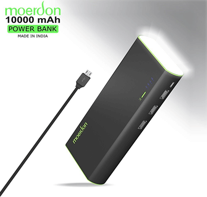 moerdon power bank 10000mah, 3 - usb port, 4 led power indicator