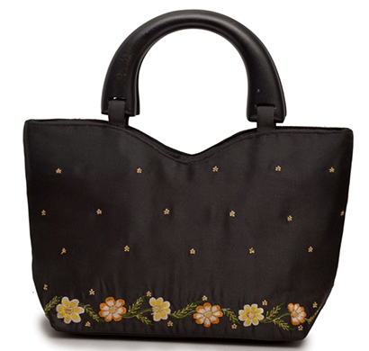 nehas nhsw - 010 bags embroidered ladies silk hand bag wooden handle (black)