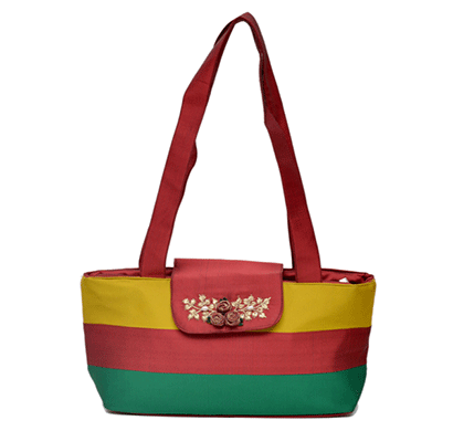 Nehas NHSS - 077 Bags Embroidered Ladies Silk Hand Bag Strap Handle (Multi Colour)