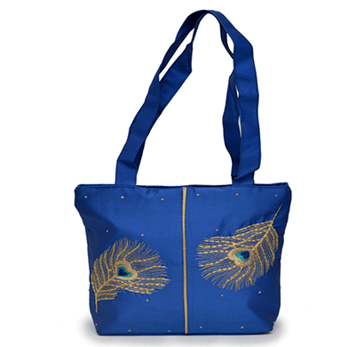nehas nhss - 067 bags embroidered ladies silk hand bag strap handle (blue)