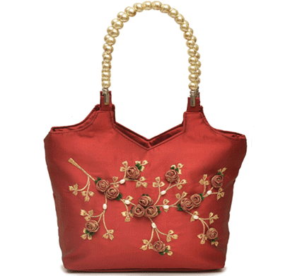 nehas nhsb-005 bags embroidered ladies silk hand bag bead handle maroon