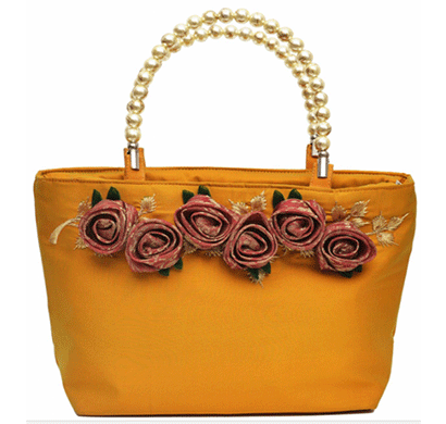 nehas nhsb-009 bags embroidered ladies silk hand bag bead handle mango yellow