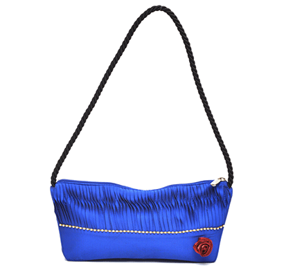 Nehas NHSR-024 Bags Embroidered Ladies Silk Hand Bag Rope Handle (Blue)