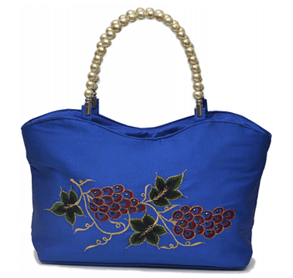 Nehas NHSB-028 Bags Embroidered ladies Silk Hand Bag Bead Handle (Blue)