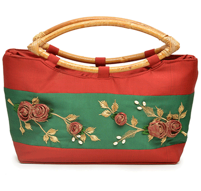 nehas nhsc-013 bags embroidered ladies silk hand bag cane handle (red & green)