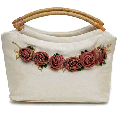 nehas nhsc-049 bags embroidered ladies silk hand bag cane handle (white)