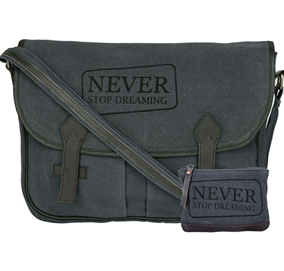 NEUDIS - LAPTOP2DREAMING, Genuine Leather & Recycled Stone Washed Canvas Spacious Laptop Messanger Bag - Never Stop Dreaming - Blue