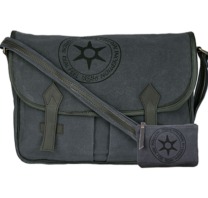 NEUDIS - LAPTOP2PEACE, Genuine Leather & Recycled Stone Washed Canvas Spacious Laptop Messanger Bag - Peace Begins With Smile - Blue