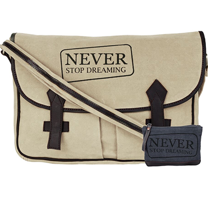 NEUDIS - LAPTOP2DREAMING, Genuine Leather & Recycled Stone Washed Canvas Spacious Laptop Messanger Bag - Never Stop Dreaming - Beige