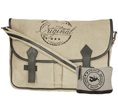NEUDIS - LAPTOP2ORIGINAL, Genuine Leather & Recycled Stone Washed Canvas Spacious Laptop Messanger Bag - Original - Beige