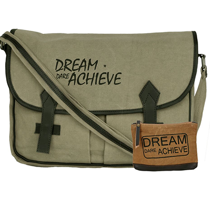 NEUDIS - LAPTOP2ACHIEVE, Genuine Leather & Recycled Stone Washed Canvas Spacious Laptop Messanger Bag - Dream Dare Achieve - Green