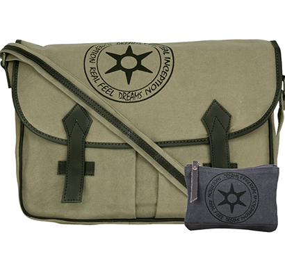 NEUDIS -LAPTOP2PEACE, Genuine Leather & Recycled Stone Washed Canvas Spacious Laptop Messanger Bag - Peace Begins With Smile - Green
