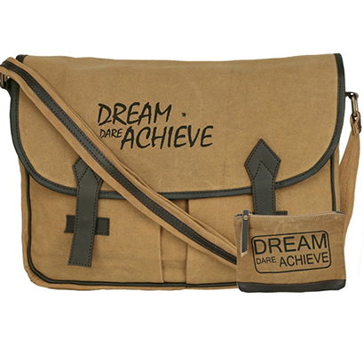 NEUDIS - LAPTOP2ACHIEVE, Genuine Leather & Recycled Stone Washed Canvas Spacious Laptop Messanger Bag - Dream Dare Achieve - Brown