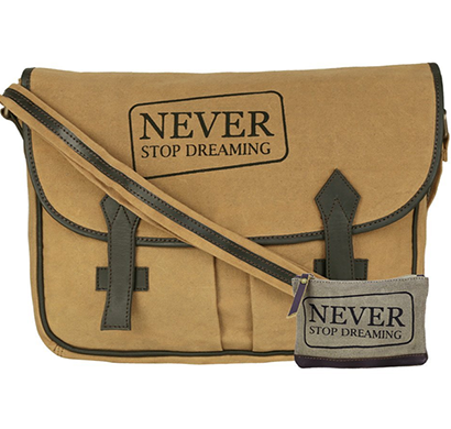 NEUDIS - LAPTOP2DREAMING, Genuine Leather & Recycled Stone Washed Canvas Spacious Laptop Messanger Bag - Never Stop Dreaming - Brown